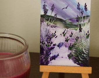 Encaustic Wax Art ACEO, Lavender Fields 13, Fantasy Miniature Art, Original