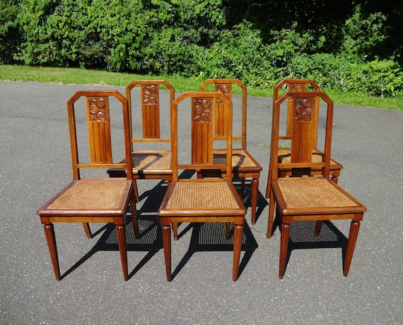 Set 6 french arts and crafts dining chairs carved fruits on for Arts and crafts 5 piece dining set