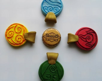 AVATAR the LAST AIRBENDER- Cosplay Elemental Nation Necklaces- Earth, Wind, Water, Fire
