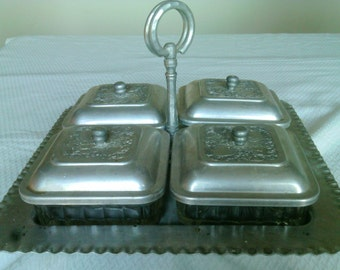 Footed Aluminum Relish Tray with Glass inserts and Aluminum lids