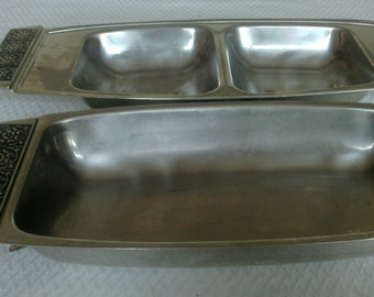 Two Compartment Velvet 18-8 Stainless Steel Serving Tray By Stanley Roberts
