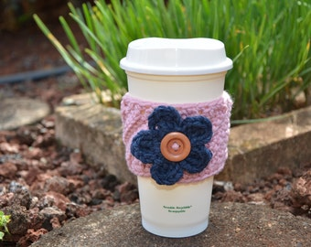 Twisted Coffee Cozy with Interchangeable flower - CHOOSE YOUR COLORS!