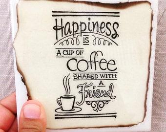 Friendship Coasters, Coffee Coasters, Ceramic Tile Coasters, Cork Coasters, Coffee, Handmade Coasters Set of 4