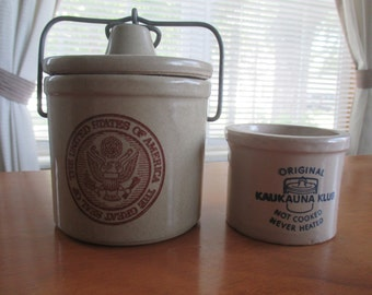 Wisconsin Heritage Stoneware Crock and kaukauna klub Crock Set