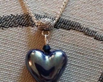 Handmade Large Glass Heart Bead Necklace