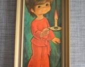 Vintage Big Eye Art Print in Frame. Jandro. 1960s-1970s. Big Eyed Boy in pyjamas holding candle. Big Eyes.
