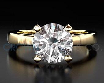 Solitaire Diamond Engagement Ring 14 Karat Yellow Gold F SI2 Round Brilliant Cut 2.4 Carat Women Diamond Ring