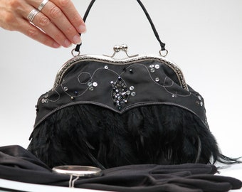 Black Feather Purse, Evening Bag with Black Feathers (Frogfeathers)