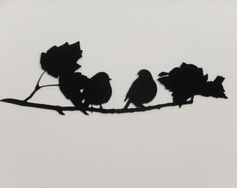 Birds on a Branch 1 Silhouette - Metal Wall Art - Black - (DD9---)