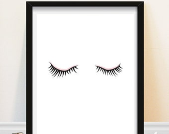 Eyelashes print - Makeup Art Print-  Bathroom Art - Fashion Print - Minimalist Eyelashes - Powder Room Decor