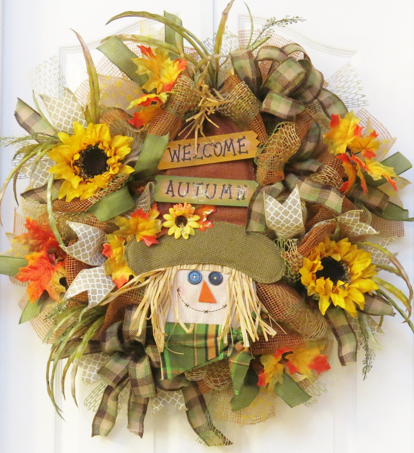 Sale Fall Burlap Wreath Scarecrow Wreath Fall By