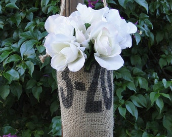 Hanging Flower Vase Plant Basket Bag Pouch | Repurposed Burlap Coffee Bean Sack | Black Numbers Print