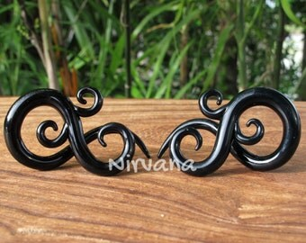 "Solid Black Color Bonita Ear Spirals  6g 4g 2g 0g 00g 7/16"" 1/2"" 9/16"" 5/8""  4 mm 5 mm 6 mm 8 mm 10 mm - 16 mm"