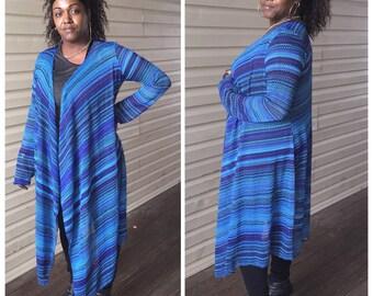 Multi colored light weight waffle knit drape cardigan
