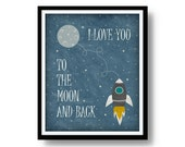 I Love You To The Moon And Back Print - Blue Sky Space Ship Stars Moon Poster - 8x10'' - Printable Nursery Decor Instant Wall Art Printables