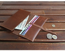 Travel wallet, handmade leather wallet, passport case, ticket holder, leather card holder with six pockets