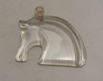 VINTAGE Clear Reverse Carved Lucite Large Horse Head Pendant