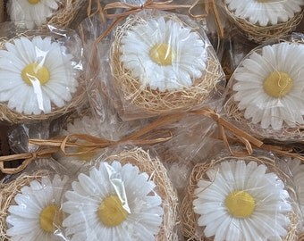 25 Natures Daisy Soap Favors - Party, Wedding ,Shower Vegan Gift Soaps & Natural Wood Excelsior