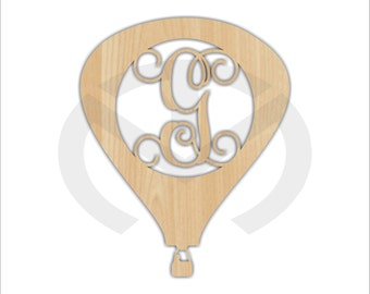 Unfinished Wood Hot Air Balloon Monogram Door Hanger Laser Cutout w/ Your Initial, Various Sizes, Home Decor, Script