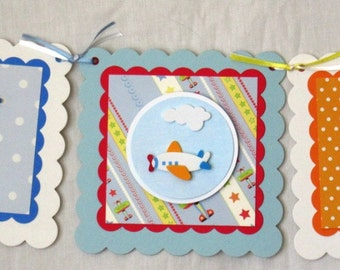 Birthday banner, handmade, child, colorful, planes, durable, unique