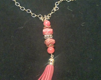 Rhodochrosite ,Pink Leather Tassel Handcrafted Artisan Boho Chain Pendant Necklace