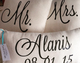 Local only- Mr & Mrs Pillows, Custom With Name and Date pillows included - pick up only