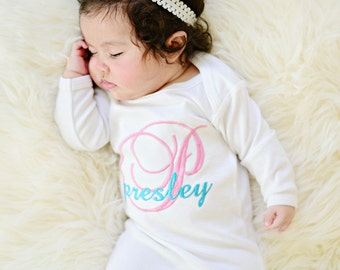 Baby Girls Monogrammed Gown,Newborn Gown,Personalized Baby Girls Gown,Embroidered Gown,White Gown or Bodysuit