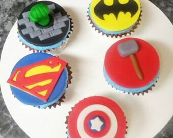 Fondant Superhero inspired Cupcake Toppers