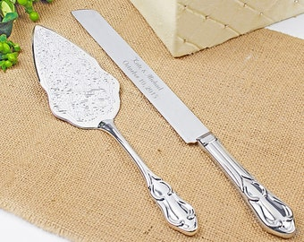 Romance Style Engraved Wedding Cake Knife Set Accessories Bridal Personalized Server
