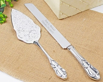 Romance Style Engraved Wedding Cake Knife Set Wedding Accessories Bridal Personalized