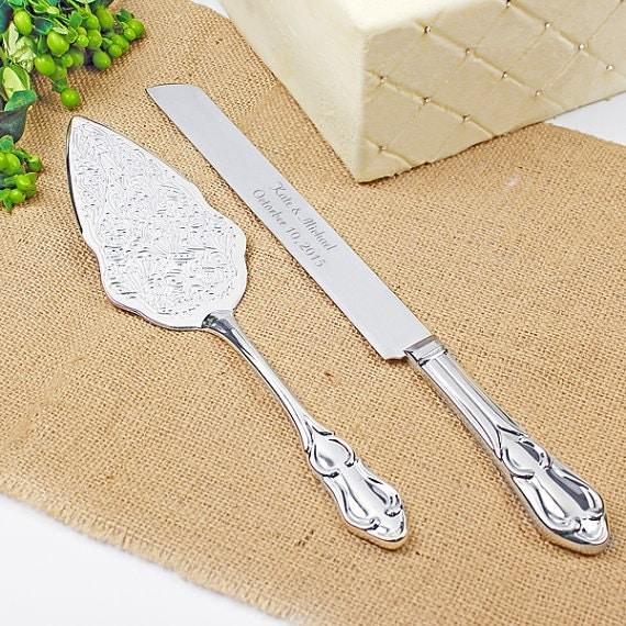 Romance Style Engraved Wedding Cake Knife Set Wedding Accessories