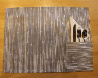 Gray Scribble Placemats with Napkin and Cutlery Pocket-Set of 4-Gray and White