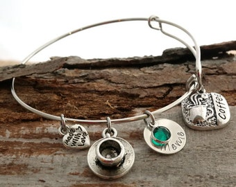 Coffee Lover Personalized Adjustable Wire Bangle Bracelet