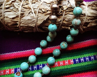 Travel Blues - Afgahani Turquoise and Silver Beaded Necklace