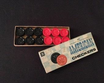 Vintage Halsam Interlocking American Plastic Checkers – 24 Red & Black