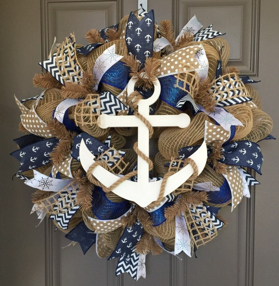 Do It Yourself Home Design: Anchor Nautical Burlap/Deco Mesh Wreath