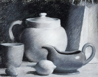 """Original Charcoal Drawing-Black and White-101/2"""" x 14"""" Still Life"""