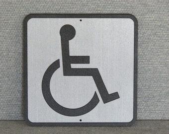 Handicap Restroom Sign Grey and Black wall or door sign