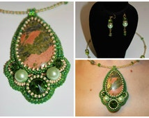 Fertility Jewelry Green Unakite gemstone seed bead embroidered Pendant Necklace Unique Anniversary gift Unakite Necklace Gift for her