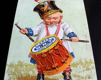 1880s Clark's Spool Cotton Trade Card, Boy with Drum