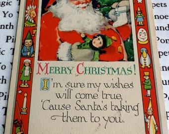 Vintage Christmas Post Card, Santa with Toy Border