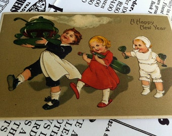 Antique German Embossed Postcard, Punch Bowl Children