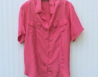 80s Silk Top - Pink Camp Shirt - Short Sleeve - Pockets - Medium/Large