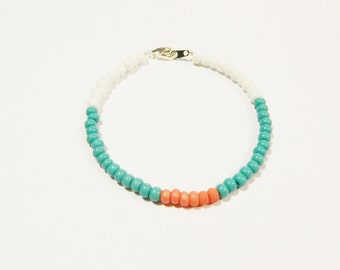 Turquoise and Coral Beaded Bracelet, Turquoise Beaded Bracelet, Coral Beaded Bracelet, Beaded Bracelet, Coral Bracelet, Turquoise Bracelet