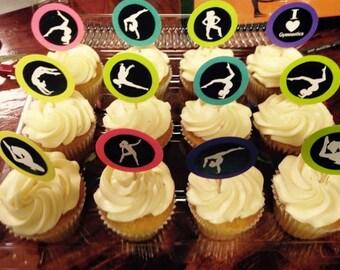 1 Dozen Gymastics Cupcake Toppers