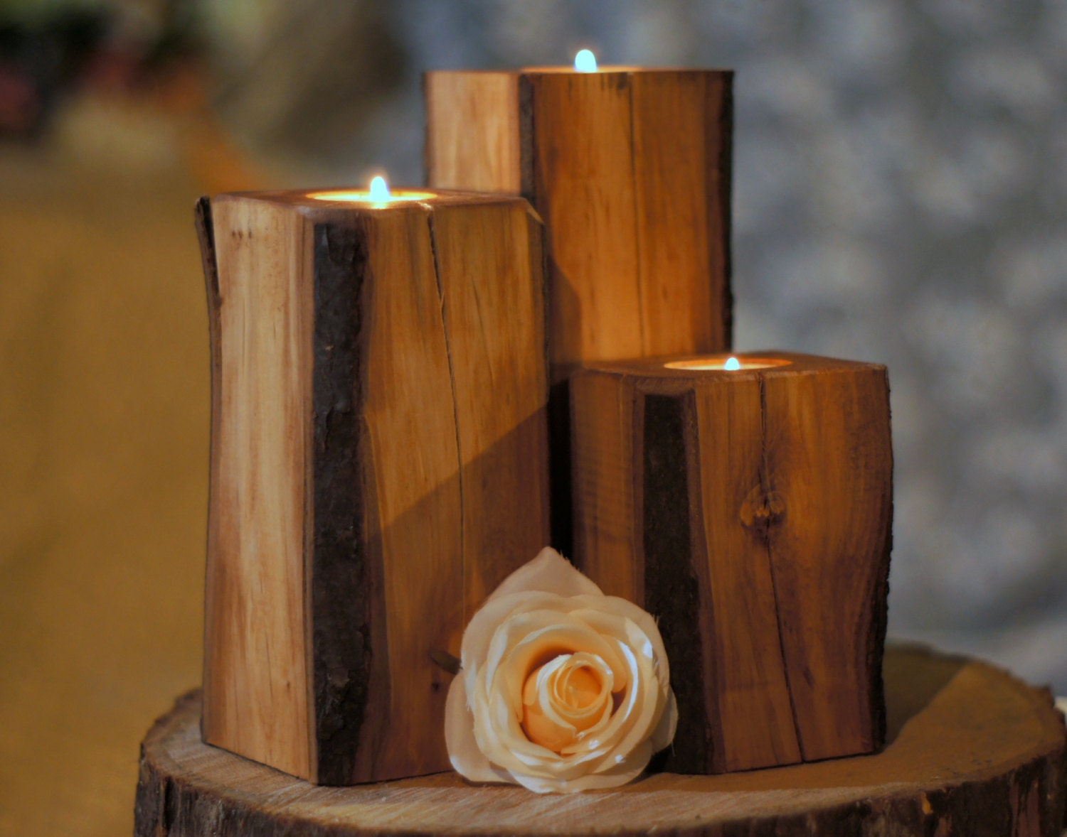 Chandeliers pendant lights for Rustic wood candle holders