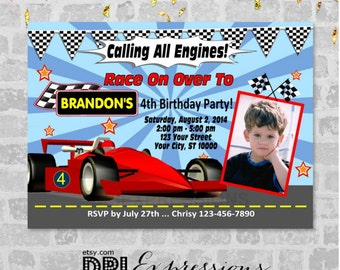 Race Car Racing Party Invitation, Printable Red Racecar Theme Birthday Party Invitation, Digital or Printed