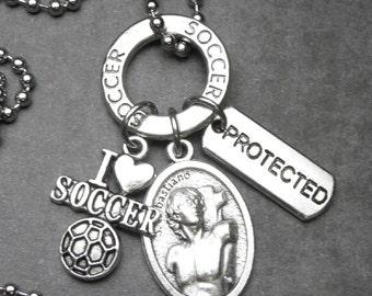 I Love Soccer St. Sebastian Catholic Holy Medal & Protected Charm Necklace or Key Chain Keychain, Catholic Gift, Athletes Patron Saint