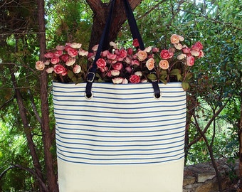 Canvas bag, striped, blue Bag, Tote bag, Shopping bag, leather Handles, beach bag, Beach bag Striped canvas bag bag Striped Purse