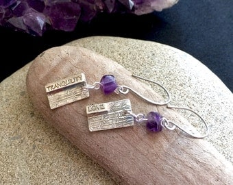 """Fine Silver """"Love"""" & """"Tranquility"""" Earrings with Amethyst Beads"""